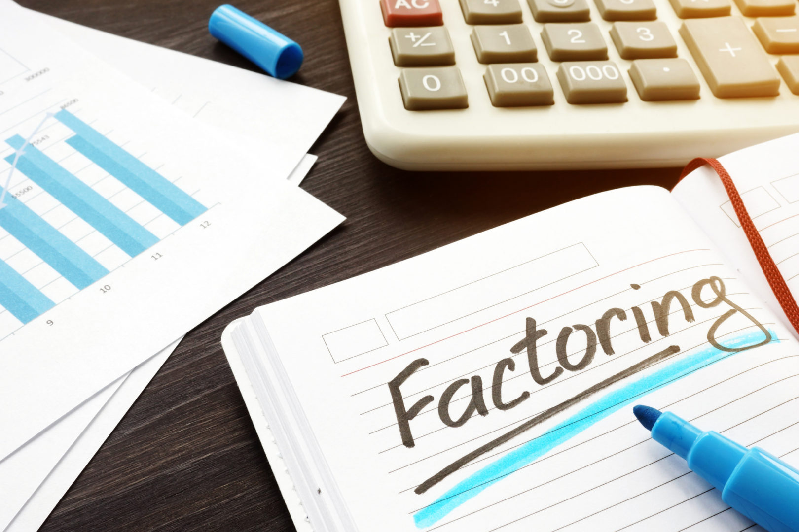 Factoring written on a note and documents.